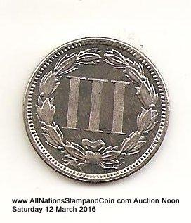 U.S.A. Proof 1886 Nickel 3c only 4290 struck