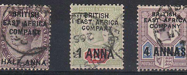 British East Africa #1-3 1890 trio