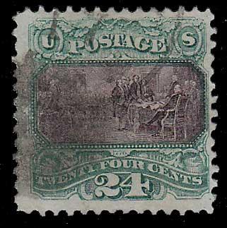 U.S.A. #120 Fine Used 1869 24c Declaration sht perf