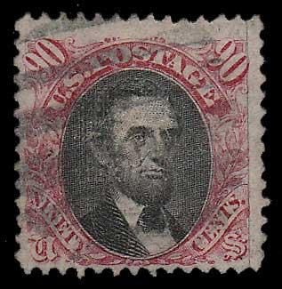U.S.A. #122 gen Fine Used 1869 90c Lincoln corner cr