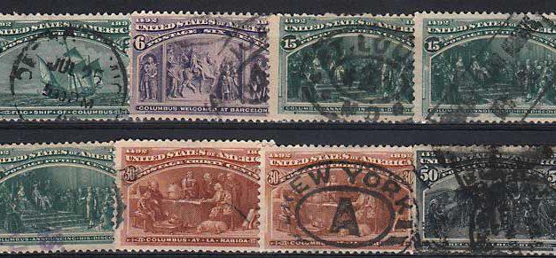 U.S.A. #232/240 gen Fine Used 1893 3c/50c sml flts