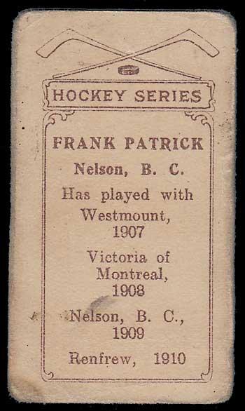 1910/11 Frank Patrick C56 #1 Rookie Hockey Card rd cor