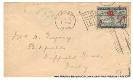 25 Dec 1898 Toronto Flag 2c Map transatlantic First Day Cover, small faults