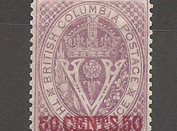 British Columbia #12 F/VF Mint 1867/1871 50c on 3d Violet Perf 14