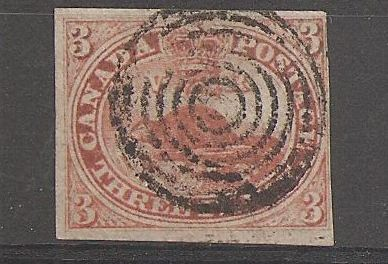 Canada #1 Fine Used 1851 3d Beaver with clear Laid Lines