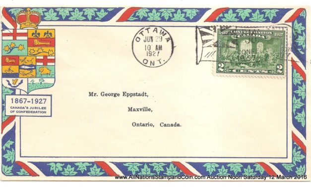 Canada #142 29 June 1927 2c Ottawa Flag Eppstadt First Day Cover