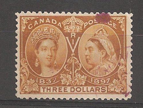 Canada #63 F/VF Winnipeg Magenta Used 1897 $3 Jubilee folded perfs