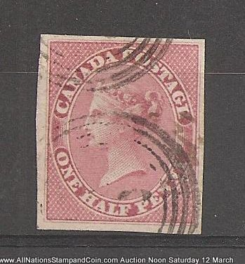 Canada #8a VF Used 1857 1/2d Lilac Rose Horizontal Ribbed Paper