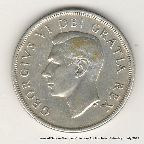 Canada VF 1948 Key Date Silver Dollar, scratches