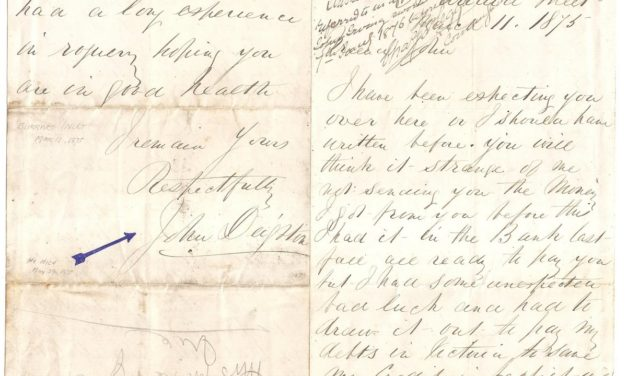 Gassy Jack Deighton, Burrard Inlet, 11th March 1875 ex Gerald Wellburn Historic Vancouver Album