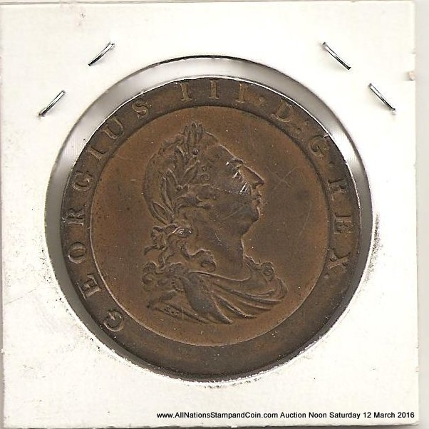 Great Britain Unc 1797 George III Cartwheel Penny