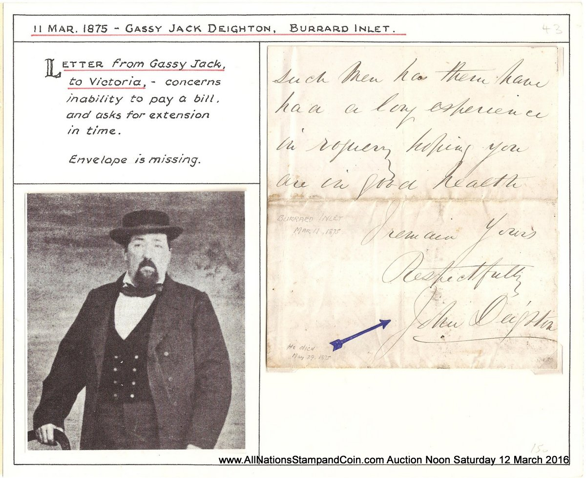 John Gassy Jack Deighton Signed 11 March 1875 ex Wellburn on his page