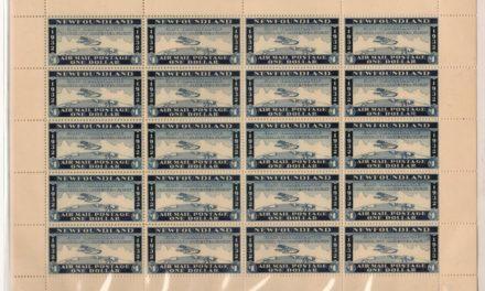 Newfoundland Mint 1932 $1 Wayzata Airmail Sheet of 20, album offset on 10