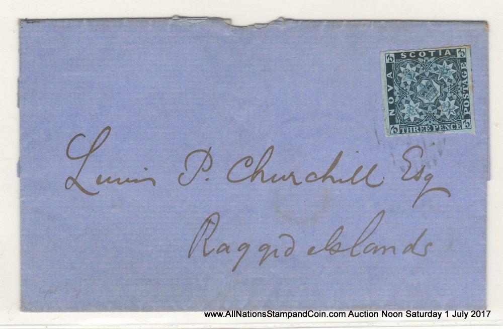 Nova Scotia #3 28 Apr 1859 3d Dark Blue Folded Letter Sheet, toned margin