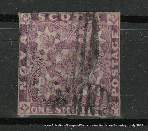 Nova Scotia #6 about Fine Used 1851 1/- Red Violet, owner's backstamps