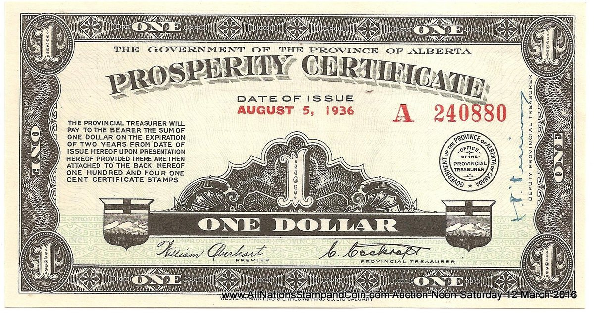 Alberta AU 1936 $1 Prosperity Certificate w/ 36 1c stamps affixed