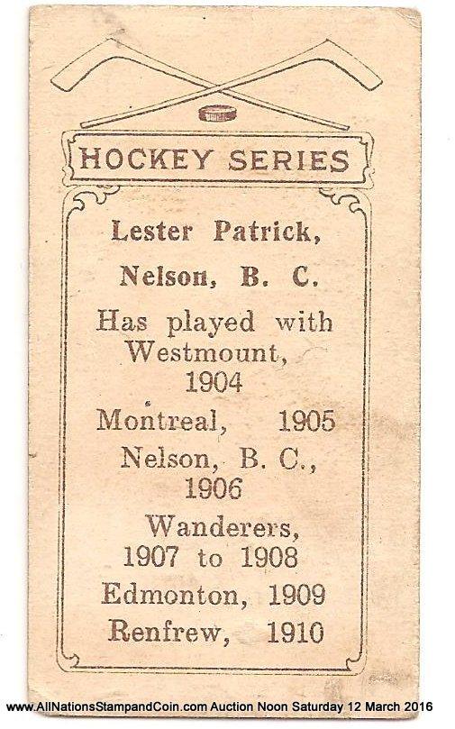 Lester Patrick 1910/1911 C56 #26 Rookie Hockey Card corner crease
