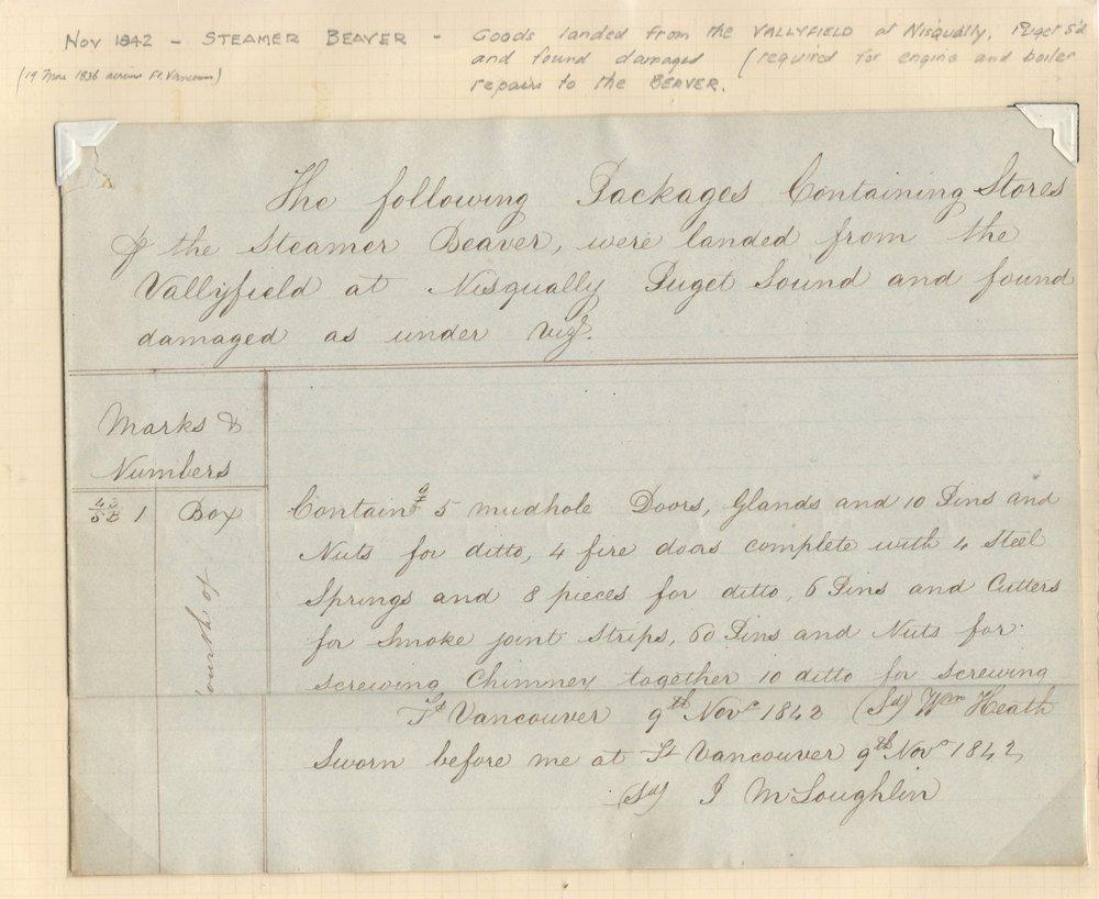 1842 John McLoughlin Signed H.B.C. Document ex Wellburn
