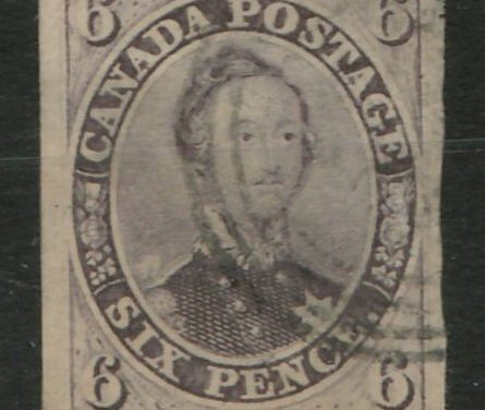 Canada #10 1857 10d Thick Paper thin