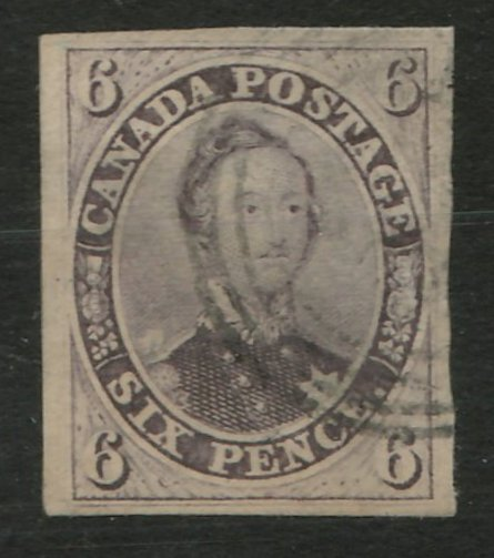 Canada #10 VF Used 1857 10d Thick Paper thin
