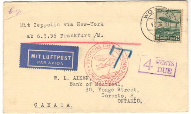 Germany 1936 4c North American Zeppelin Flight Cover to Toronto