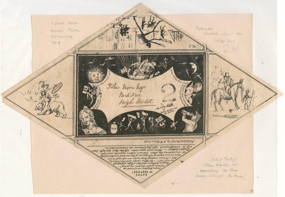 R.W. Hume 1 Jun 1840 2d Due Postal Envelope No. 2 ex Wellburn