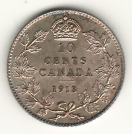 Canada Unc 1913 Broad Leaves Silver 10 Cents reverse