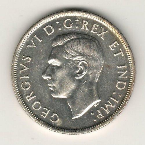 Canada Unc 1947 Maple Leaf double HP Silver Dollar obverse George VI
