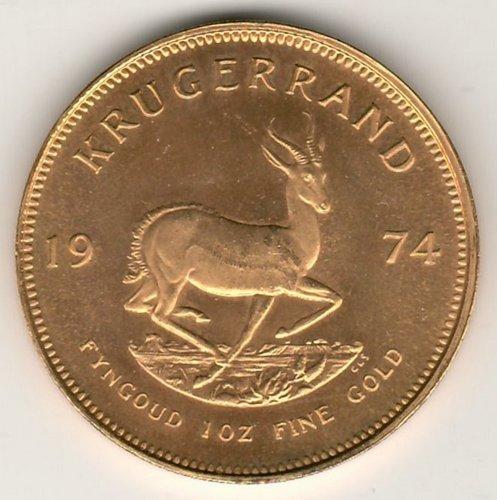 South Africa BU 1974 Ounce Gold Krugerrand .9939oz AGW
