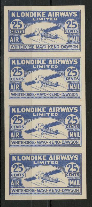 Klondike Airways #CL45 VFNH 1928 25c Strip $495. (4), lot 67