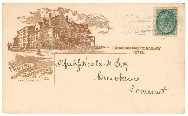 Lot98 Hotel Vancouver 1900 1c Montreal Flag C.P.R. Earnings Postcard to UK