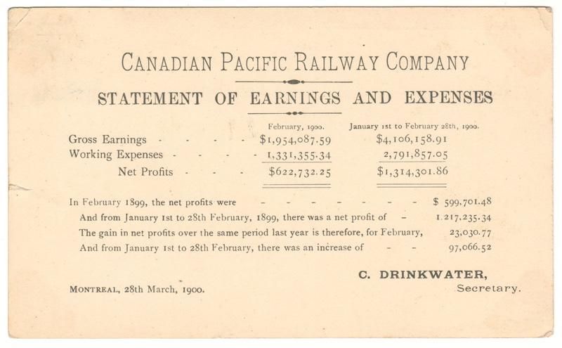 C.P.R. Earnings Postcard to UK