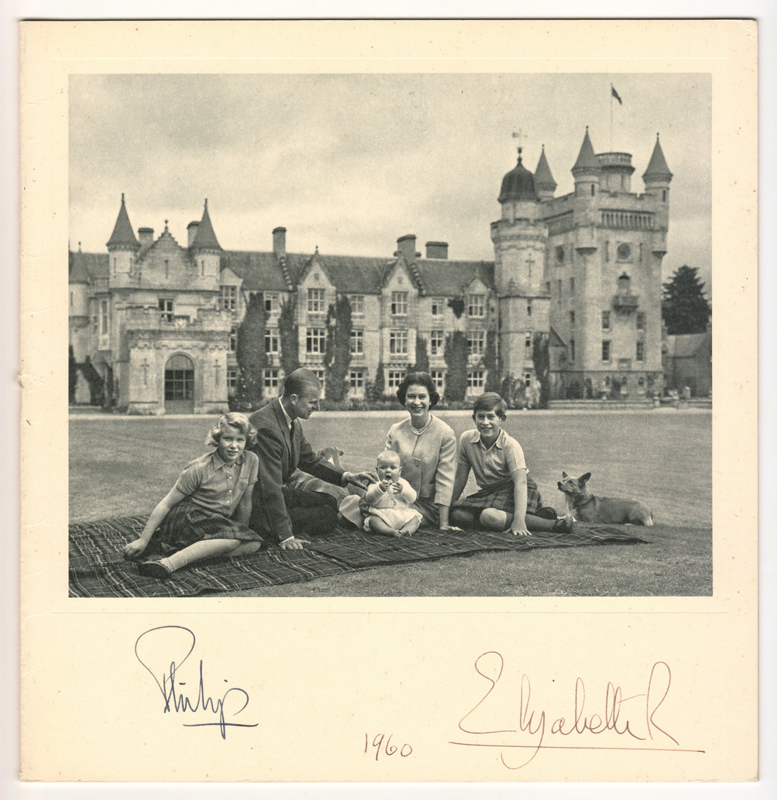 Philip & Queen Elizabeth II Signed 1960 Real Photo Christmas Card