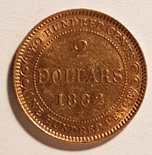 Lot 186 Newfoundland XF 1882H Gold 2 Dollars, contact marks .0998oz AGW