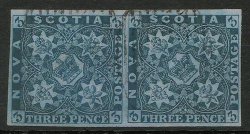 Nova Scotia #3 F/VF Used 1857 3d Horizontal Pair