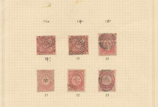 Newfoundland #19-23 1861/62 5d to 1/- on page