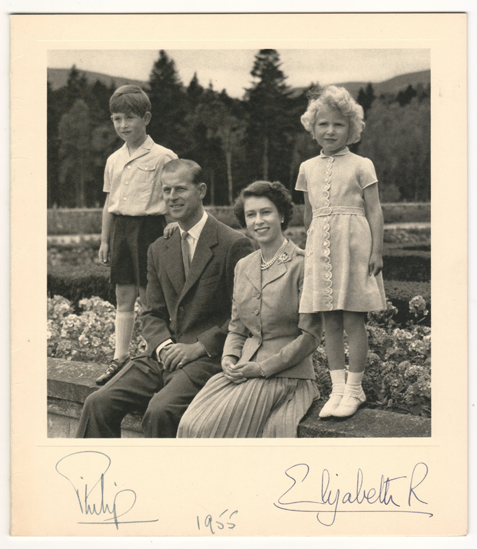 Philip & Queen Elizabeth II Signed 1955 Real Photo Christmas Card