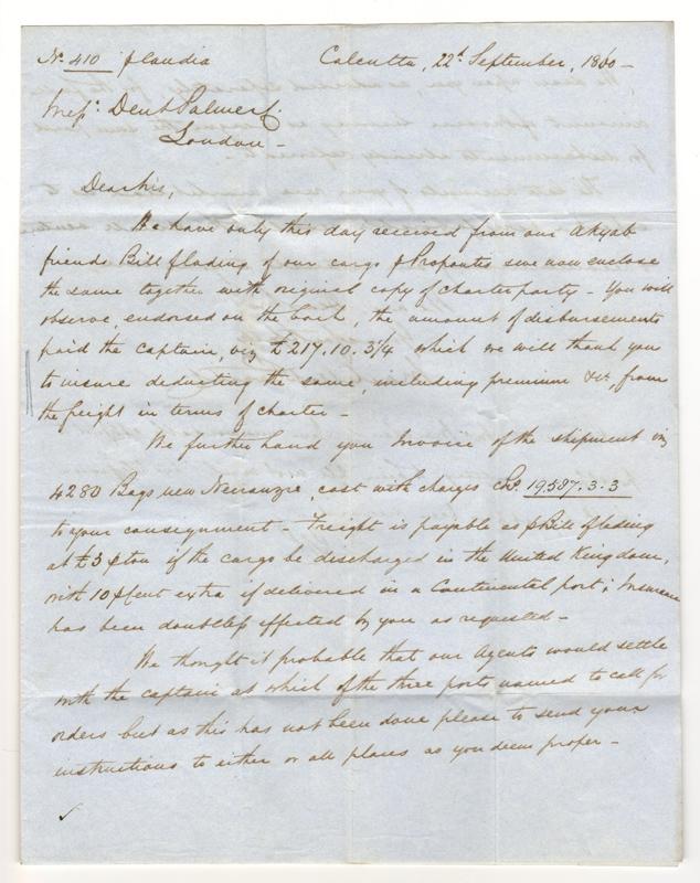 India 22 Dec 1860 14a Calcutta/London India Paid P&O F.L.S.