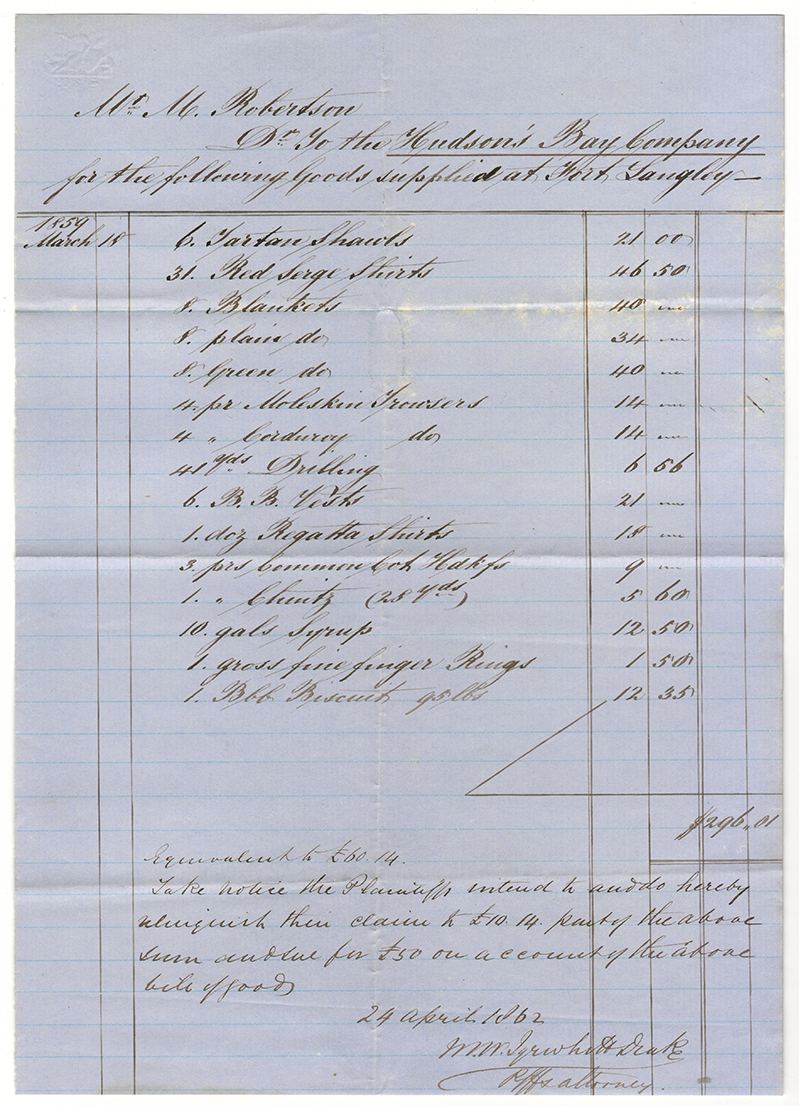 March 1859 Hudson's Bay Company Invoice for Goods supplied at Fort Langley
