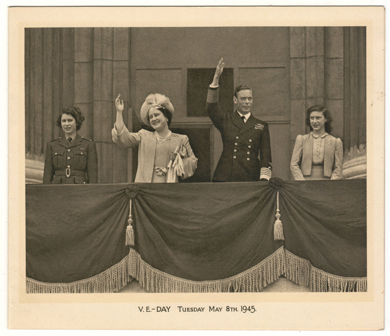 VE Day Tuesday May 8th 1945 King George VI and Elizabeth Bowes-Lyon with their children Elizabeth and Margaret