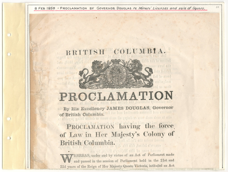 Proclamation folded on Page 10 of the album