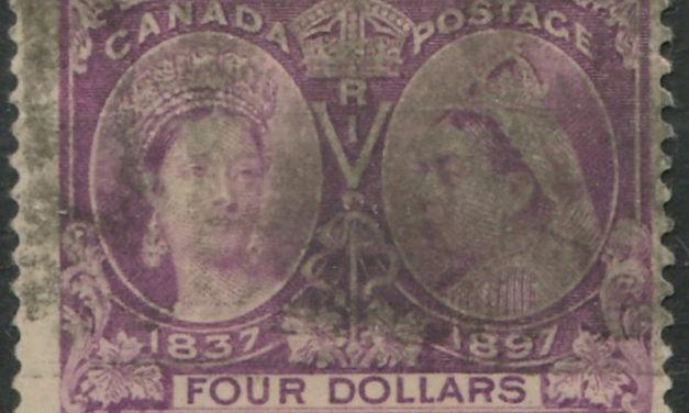 Canada #64 1897 $4 Jubilee smudge cancel