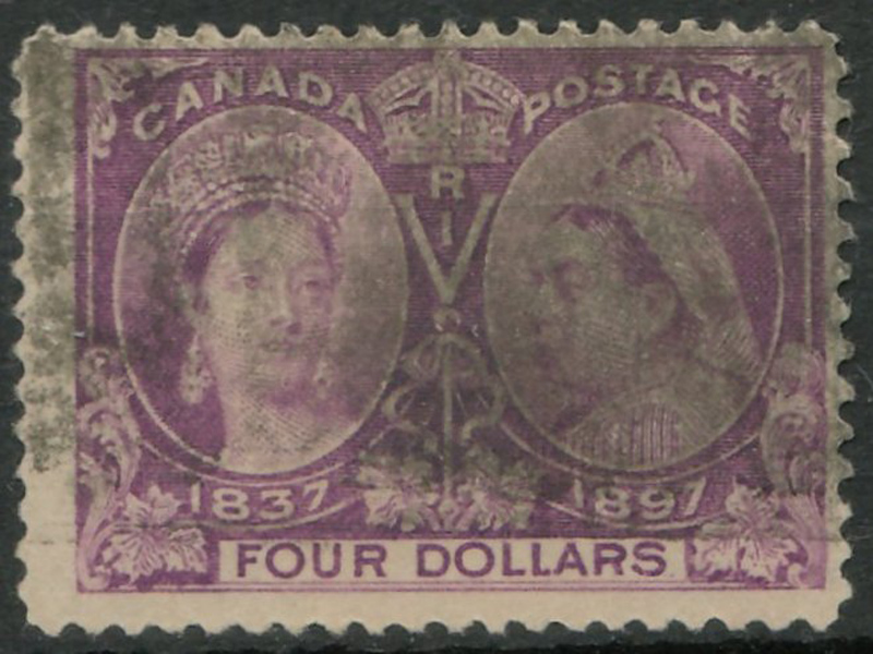 Canada #64 Fine Used 1897 $4 Jubilee smudge cancel
