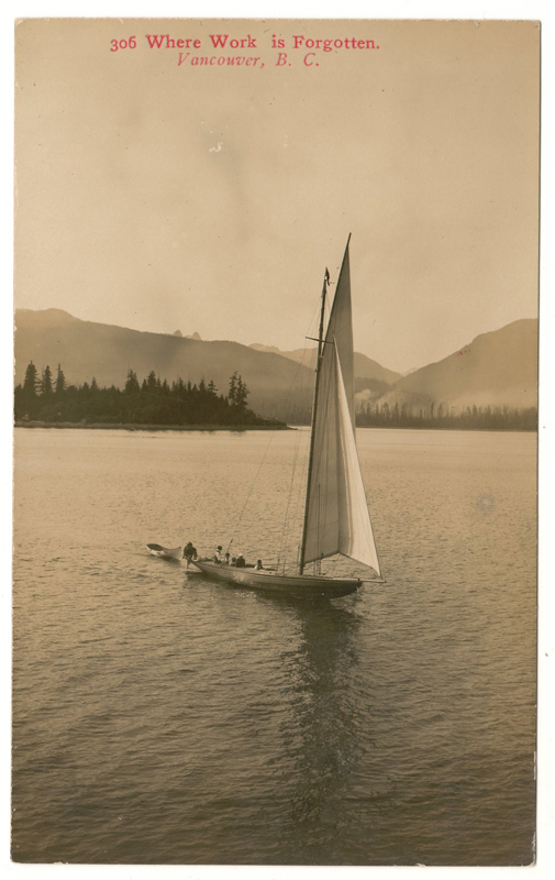 Postcard of dinghy sailing in calm waters British Columbia landscape