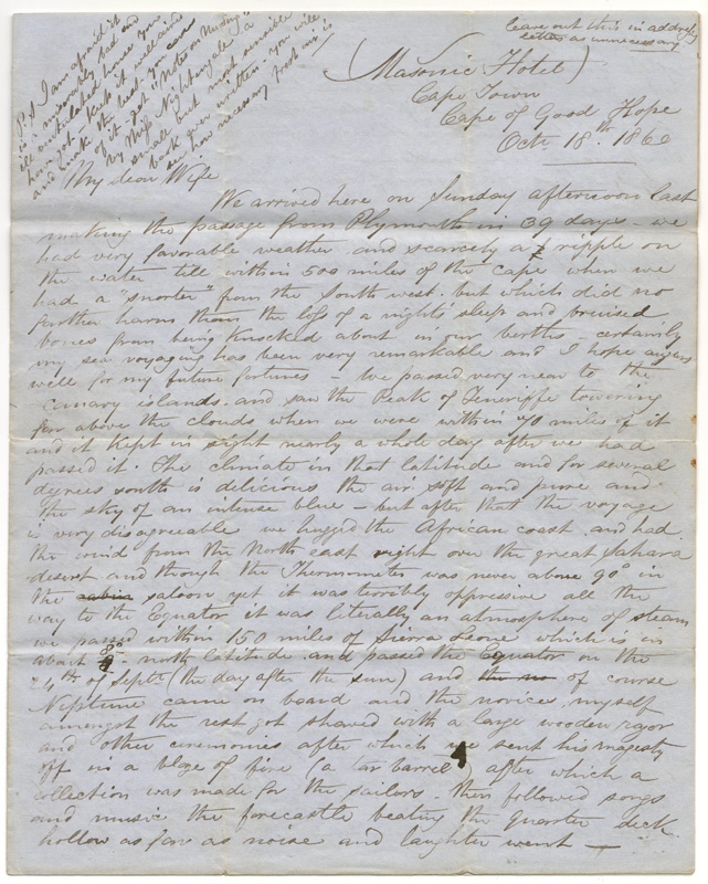 First page of Capetown 18 Oct 1860 Marcus Smith 4-page letter to his Canadian wife
