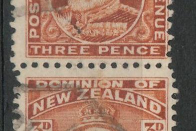 New Zealand #133bc 1909 3d Edward Pair w/different perfs