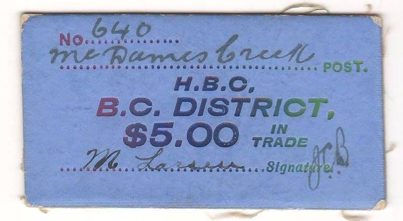 McDames Creek blue $5 card money No. 640