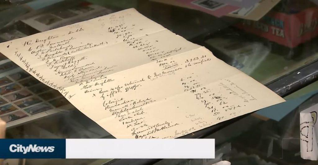 handwritten list on the store counter