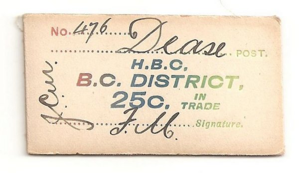 Front of Dease Creek cream 25 Cent card money No. 476