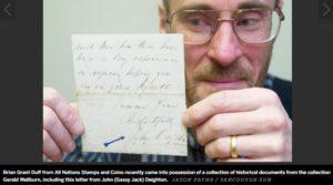 Brian Grant Duff holds Gassy Jack signature